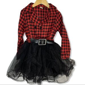 Plaid dress with black tulle skirt size 120 / 6-7